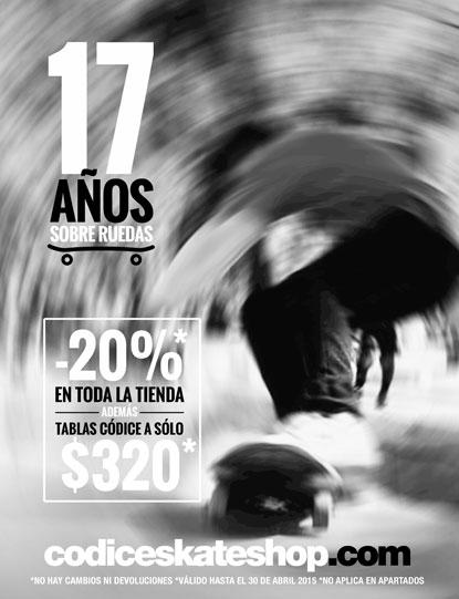En abril Códice Cumple 17 Años Sobre Ruedas, promociones y descuentos de aniversario en toda la tienda, además tablas Códice en rebaja.