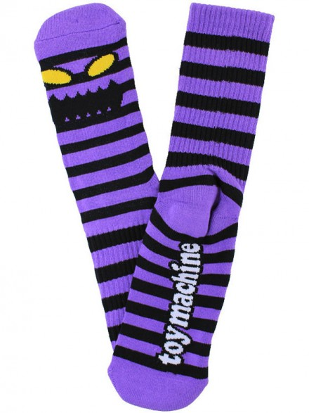 Calcetines Toy Machine Monster Stripe Black Purple