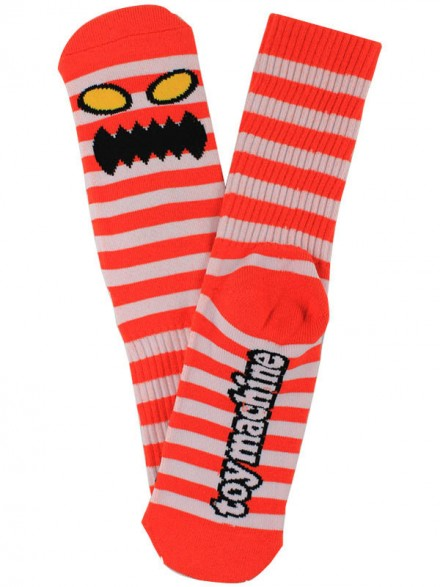 Calcetines Toy Machine Monster Stripe White Red