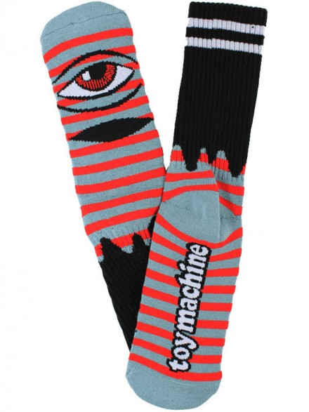 Calcetines Toy Machine Sect Eye Stripe Grey Blue Red