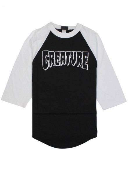 Playera Creature Rev Logo 3/4 Negro Blanco