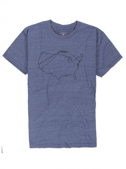 Playera Fourstar Map Triblend Blue Heather