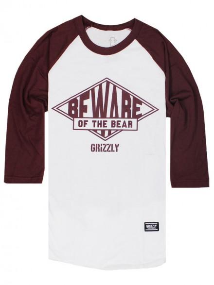 Playera Grizzly Pyramid Raglan 3/4 Burgundy