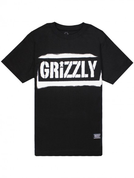 Playera Grizzly Stencil Stamp Black
