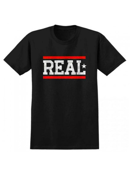 Playera Real Bars S/S Wht Blk Red