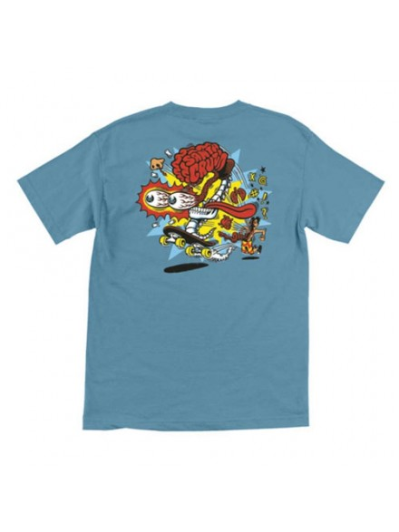 Playera Santa Cruz Skate Brain Regular S/S Carolina Blue S