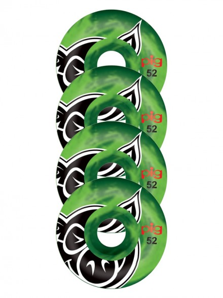 Ruedas Skate Pig Head Swirl Green 52mm