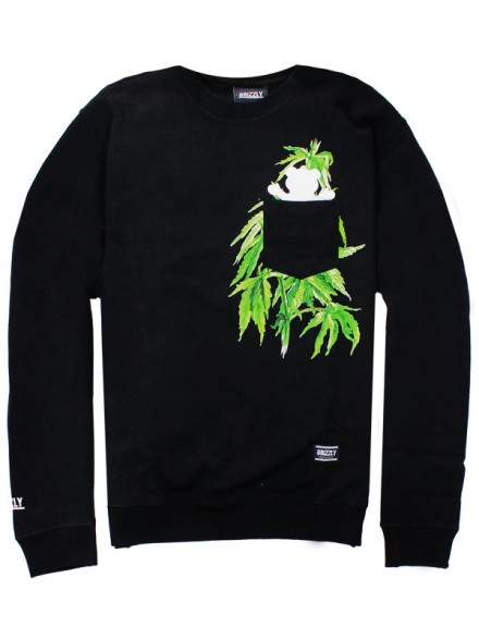 Sudadera Grizzly Plant Life Pocket Crew Black