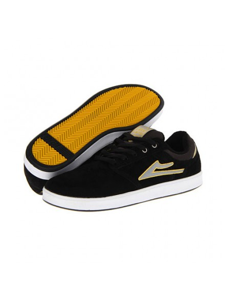 Tenis Skate Lakai Linden Black/Grey/Yellow Suede