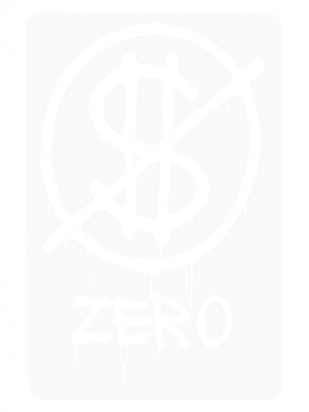 Calcomanía Zero Hardluck White 10.8X7cm
