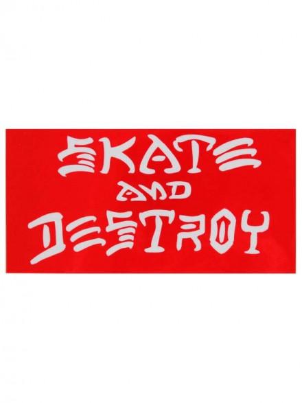 Calcomanía Thrasher Skate And Destroy Red White 10x5cm