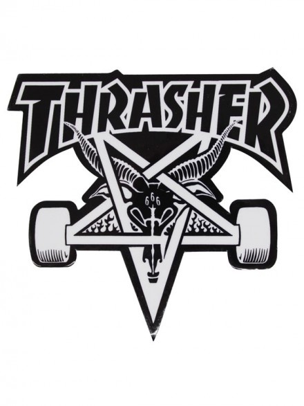 Calcomanía Thrasher Skate Goat Die Cut Black White 23x20.5cm