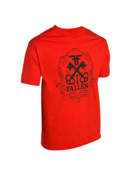 Playera Fallen Skeleton Keys S/S Red/Black Lg