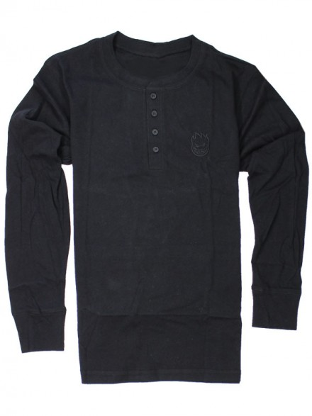 Playera Spitfire Bighead Embroidered Henley M/L Black