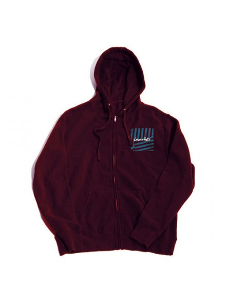 Sudadera Chocolate Chunk Stripes Zip Burgundy