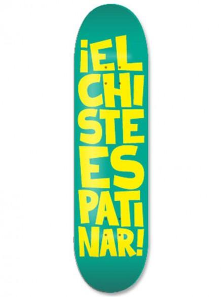 Tabla Skate Códice El Chiste Es Patinar Turquesa Amarillo 8.25