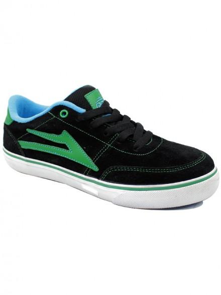 Tenis Skate Lakai Kids Encino Black/Green Suede