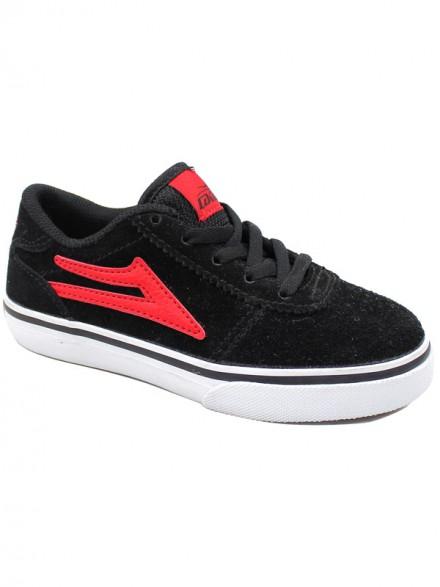 Tenis Skate Lakai Kids Manchester Black Red Suede