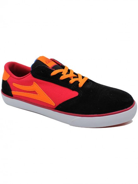 Tenis Skate Lakai Kids Pico Black Red Suede