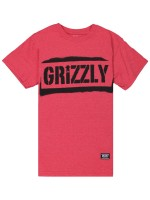 Playera Grizzly Stencil Stamp Red Heather