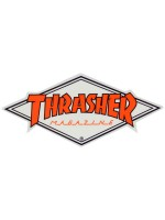 Calcomanía Thrasher Diamond Logo White Orange 10.5x4.8cm
