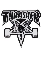 Calcomanía Thrasher Skate Goat Die Cut Black White 10x9cm