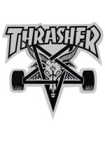 Calcomanía Thrasher Skate Goat Die Cut White Black 10x9cm