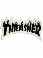 Calcomania Thrasher Flame Logo Black Clear 8.2x4.6cm