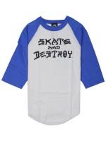 Playera Thrasher Skate And Destroy Raglan 3/4 White Blue