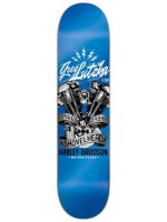 "Tabla Darkstar Shovelhead Harley Davidson Greg Lutzka Blue 8.125"""