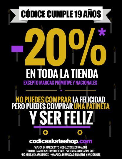 Descuentos y promociones mensuales en Códice ¡El Chiste es Patinar!